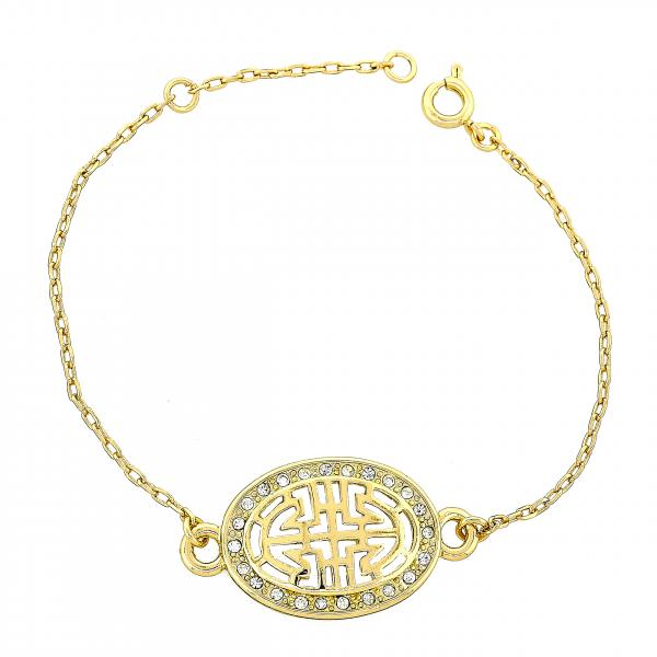 Gold Layered 03.91.0034.07 Fancy Bracelet, Greek Key Design, with White Crystal, Polished Finish, Golden Tone