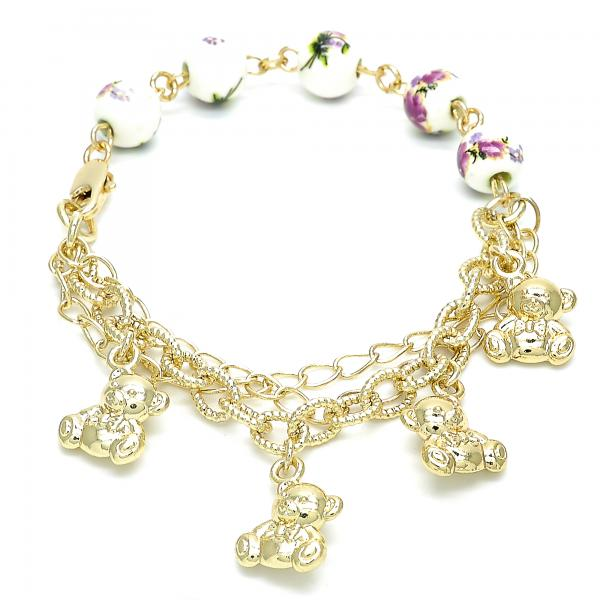 Gold Layered 03.179.0059.07 Charm Bracelet, Teddy Bear and Flower Design, Polished Finish, Golden Tone