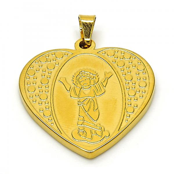 Stainless Steel 05.247.0008 Religious Pendant, Divino Niño and Heart Design, Polished Finish, Golden Tone