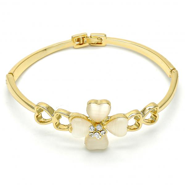 Gold Layered Individual Bangle, Flower and Heart Design, with Opal and Crystal, Golden Tone