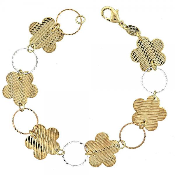 Gold Layered 5.032.005 Fancy Bracelet, Flower Design, Diamond Cutting Finish, Tri Tone