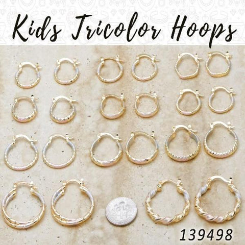 50prs of Kids Tricolor Hoops (10mm-15mm) in Gold Layered ($2.00) ea