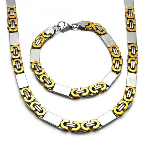 Stainless Steel 06.116.0008 Necklace and Bracelet, Polished Finish, Two Tone