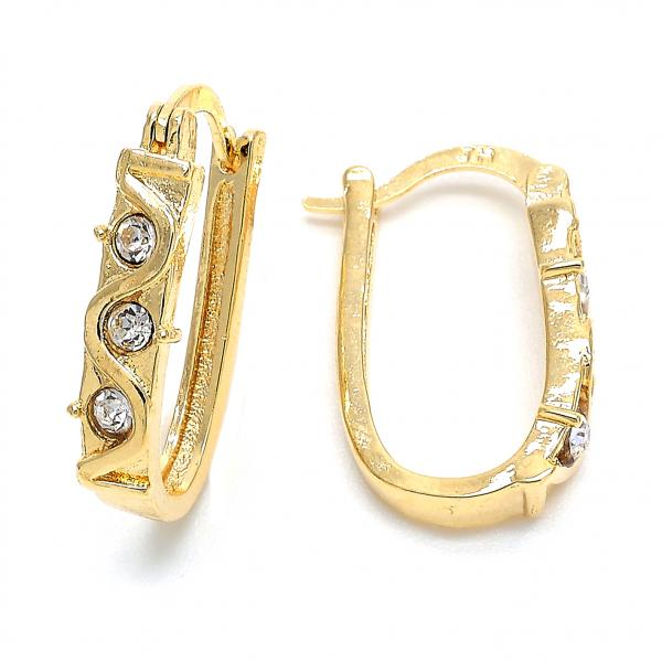 Gold Layered 02.168.0018 Huggie Hoop, with White Crystal, Polished Finish, Golden Tone