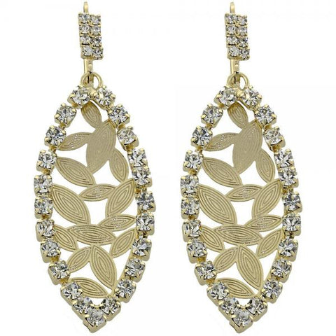 Gold Layered 5.124.003 Long Earring, Leaf Design, with White Cubic Zirconia, Diamond Cutting Finish, Golden Tone