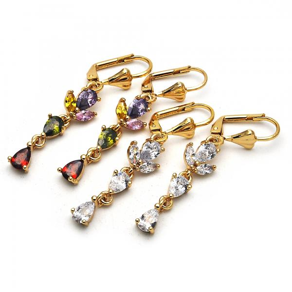 Gold Layered Long Earring, Teardrop Design, with Cubic Zirconia, Golden Tone
