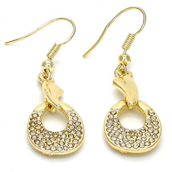 Gold Layered 02.59.0127 Long Earring, with White Crystal, Polished Finish, Golden Tone