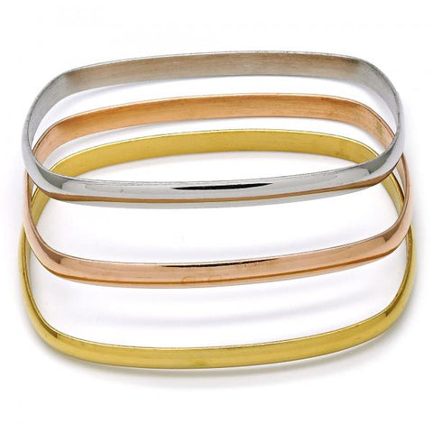 Stainless Steel 07.244.0007.06 Trio Bangle, Polished Finish, Tri Tone (05 MM Thickness, Size 6 - 2.75 Diameter)