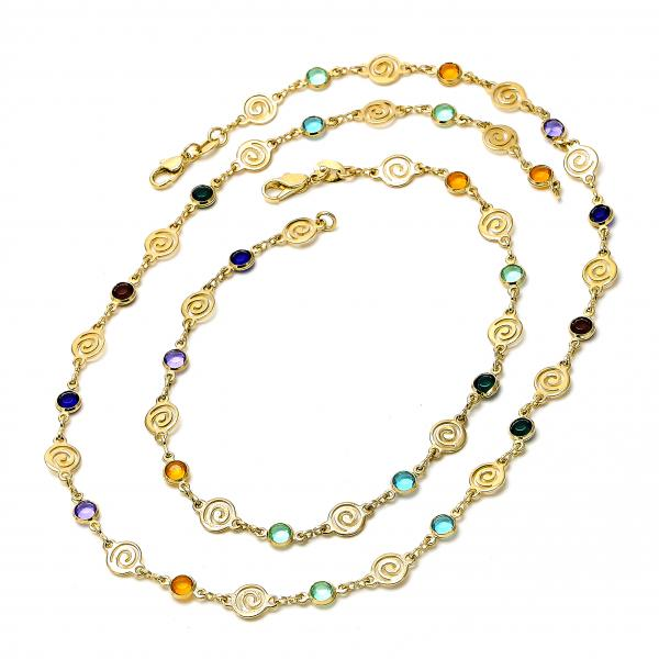 Gold Layered 04.63.1212 Necklace and Anklet, with Multicolor Crystal, Polished Finish, Golden Tone