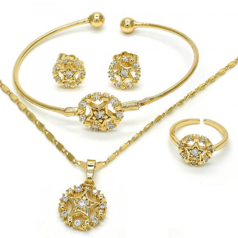 Gold Layered 06.329.0001 Earring and Pendant Children Set, Star Design, with White Cubic Zirconia, Polished Finish, Golden Tone