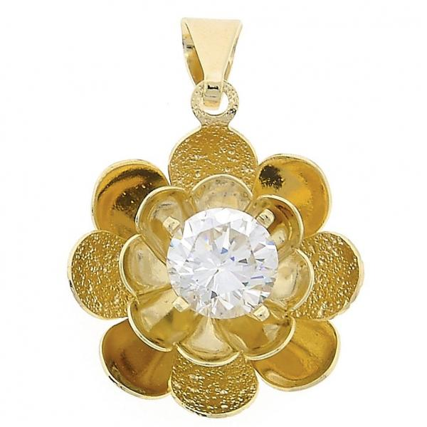 Gold Layered 05.21.0016 Fancy Pendant, Flower Design, with  Cubic Zirconia, Golden Tone