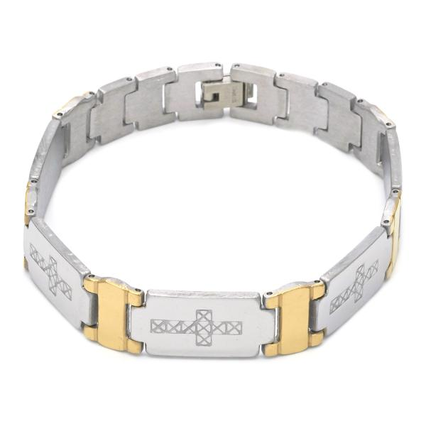 Stainless Steel 03.114.0263.09 Solid Bracelet, Cross Design, Polished Finish, Two Tone