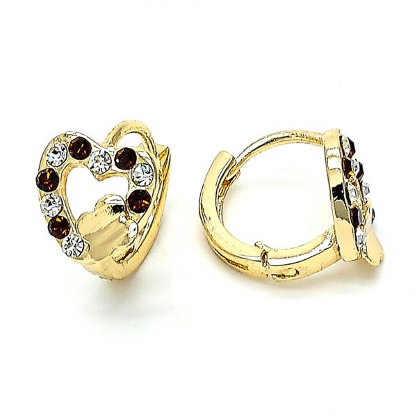 Gold Layered 02.59.0056 Huggie Hoop, Heart Design, with Brown and White Crystal, Polished Finish, Golden Tone