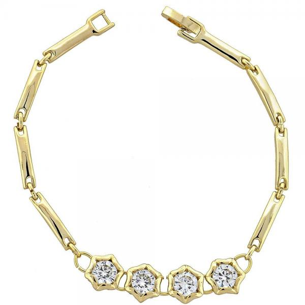 Gold Layered 5.026.003 Tennis Bracelet, Flower Design, with White Cubic Zirconia, Polished Finish, Golden Tone