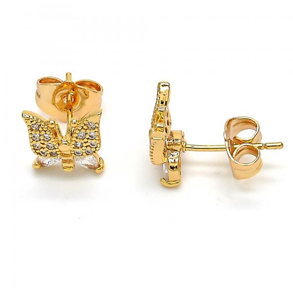 Gold Layered 02.310.0014 Stud Earring, Butterfly Design, with White Cubic Zirconia, Golden Tone
