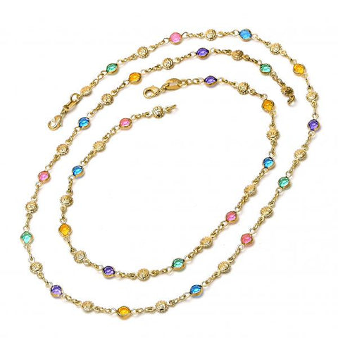Gold Layered 04.63.1228 Necklace and Anklet, with Multicolor Crystal, Polished Finish, Golden Tone