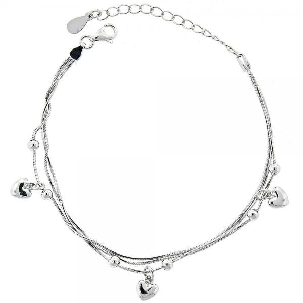 Sterling Silver 03.183.0029 Charm Anklet , Heart Design, Polished Finish, Rhodium Tone
