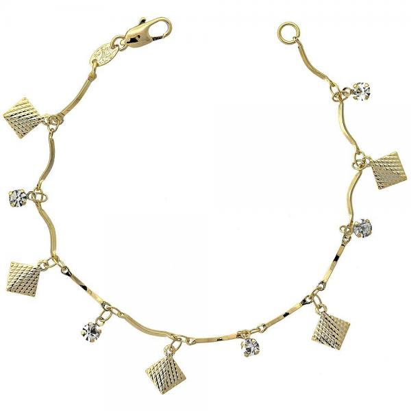 Gold Layered 03.63.1060.07 Charm Bracelet, with White Cubic Zirconia, Diamond Cutting Finish, Golden Tone