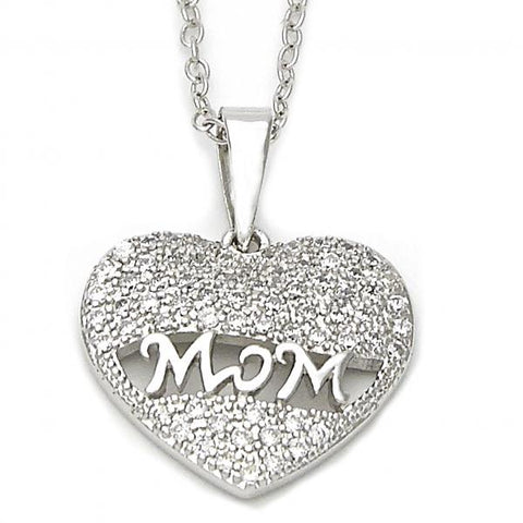 Sterling Silver 10.174.0160.18 Fancy Necklace, Heart Design, with White Micro Pave, Polished Finish, Silver Tone