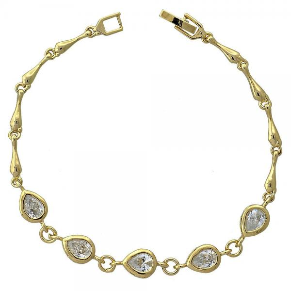 Gold Layered 5.027.006 Fancy Bracelet, Teardrop Design, with White Cubic Zirconia, Polished Finish, Golden Tone