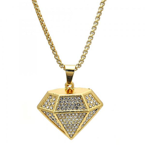 Gold Layered 04.242.0079.30 Fancy Necklace, with White Crystal, Polished Finish, Golden Tone