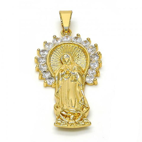 Gold Layered 05.179.0066 Religious Pendant, Guadalupe Design, with White Cubic Zirconia, Polished Finish, Golden Tone