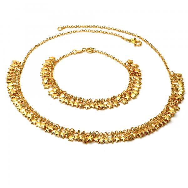 Gold Layered 06.63.0154 Necklace and Bracelet, Star Design, Golden Tone