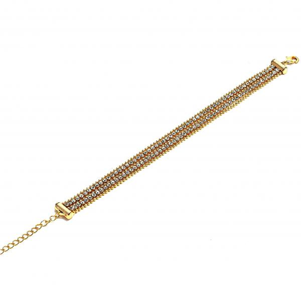 Gold Layered 03.60.0121.07 Fancy Bracelet, with White Cubic Zirconia, Polished Finish, Golden Tone
