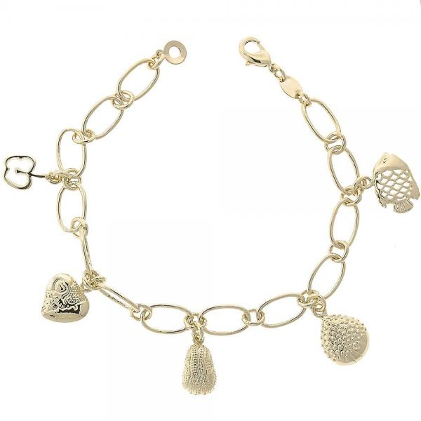 Gold Layered 5.019.010.1 Charm Bracelet, Apple and Fish Design, Diamond Cutting Finish, Golden Tone