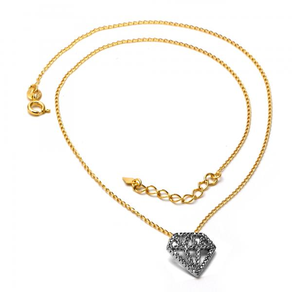 Gold Layered 04.09.0043.18 Pendant Necklace, Diamond Design, Matte Finish, Two Tone
