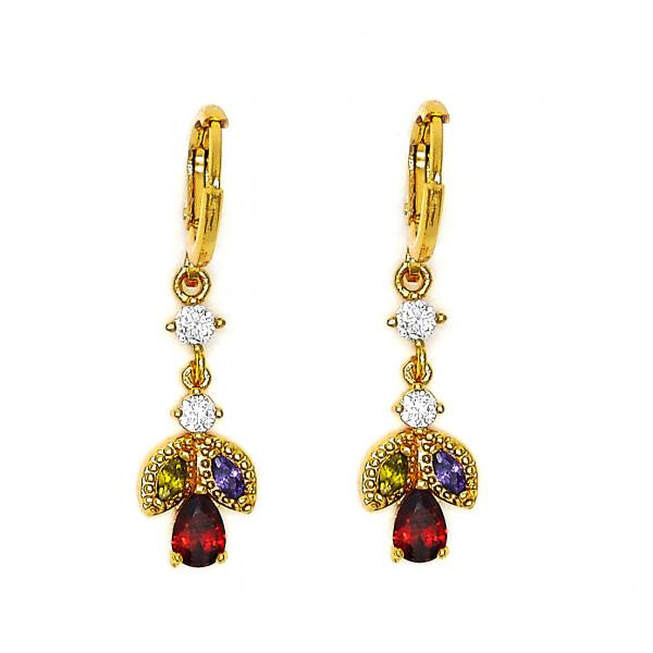 Gold Layered 02.206.0011 Dangle Earring, Teardrop Design, with Multicolor Cubic Zirconia, Polished Finish, Golden Tone