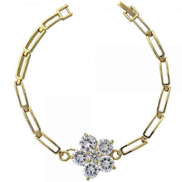 Gold Layered 5.028.001 Fancy Bracelet, Flower Design, with White Cubic Zirconia, Polished Finish, Golden Tone