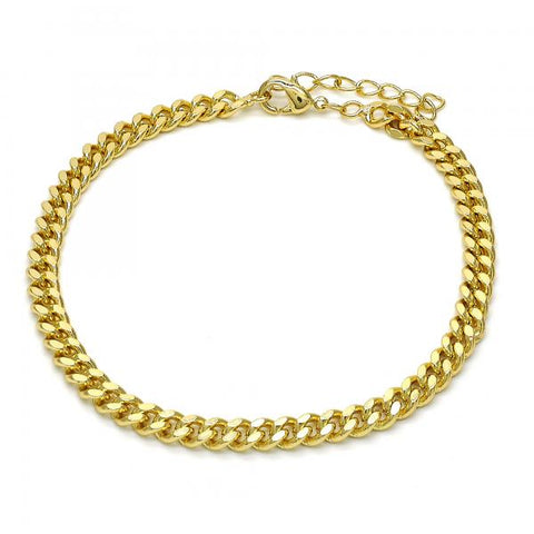 Gold Layered 04.213.0099.08 Basic Bracelet, Miami Cuban Design, Polished Finish, Golden Tone