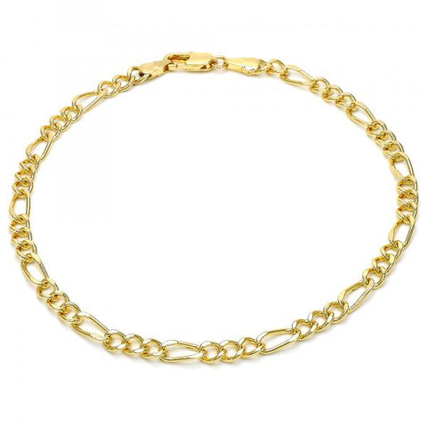 Gold Layered 03.63.1843.10 Basic Anklet, Figaro Concave Design, Polished Finish, Golden Tone