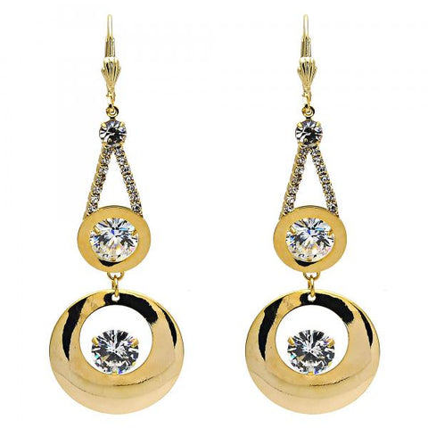 Gold Layered 02.268.0020 Long Earring, with White Crystal and White Cubic Zirconia, Polished Finish, Golden Tone