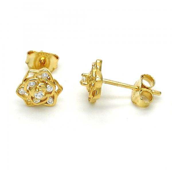 Sterling Silver 02.285.0056 Stud Earring, Flower Design, with White Cubic Zirconia, Polished Finish, Golden Tone