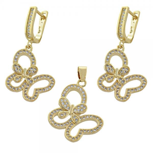 Gold Layered 10.166.0008 Earring and Pendant Adult Set, Butterfly Design, with  Micro Pave, Golden Tone