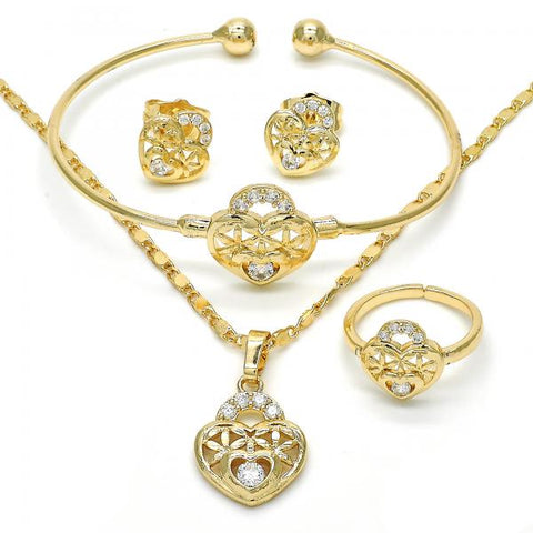 Gold Layered 06.329.0009 Earring and Pendant Children Set, Lock and Heart Design, with White Cubic Zirconia, Polished Finish, Golden Tone