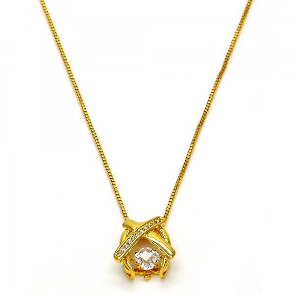 Gold Tone 04.213.0022.16.GT Pendant Necklace, with White Cubic Zirconia and White Micro Pave, Polished Finish, Golden Tone