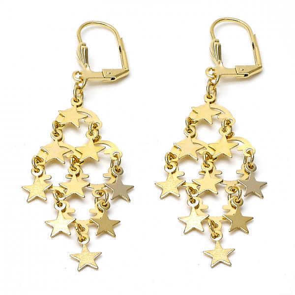 Gold layered 02632194 chandelier earring star design polished gold layered 02632194 chandelier earring star design polished finish golden tone aloadofball Image collections