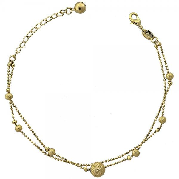 Gold Layered 5.016.007.07 Fancy Bracelet, Rattle Charm and Ball Design, Matte Finish, Golden Tone