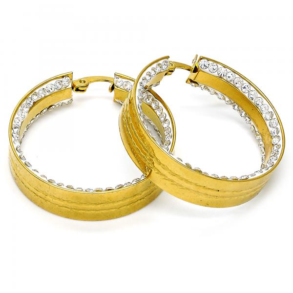 Stainless Steel 02.249.0003.30 Medium Hoop, with White Crystal, Polished Finish, Golden Tone