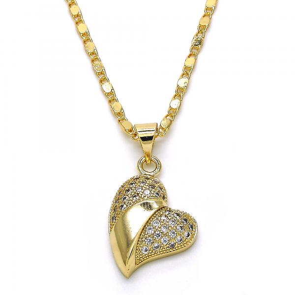 Gold Layered 04.166.0007.18 Fancy Necklace, Heart Design, with White Micro Pave, Polished Finish, Golden Tone