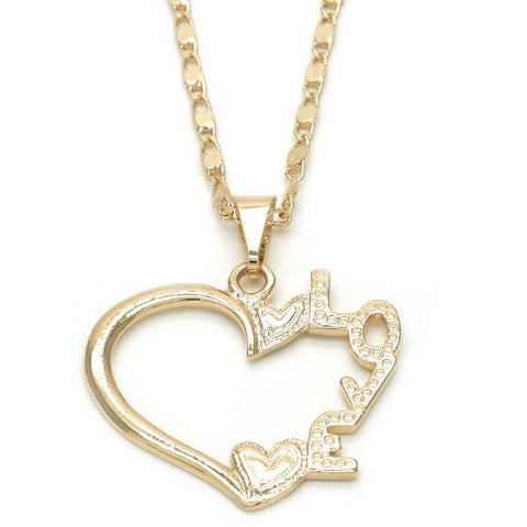Gold Layered 04.09.0164.18 Fancy Necklace, Heart and Love Design, Polished Finish, Golden Tone