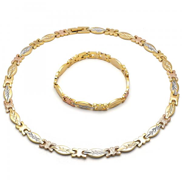 Gold Layered 06.102.0003 Necklace and Bracelet, Diamond Cutting Finish, Tri Tone