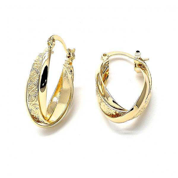 Gold Layered 5.155.029 Small Hoop, Twist and Spiral Design, Diamond Cutting Finish, Golden Tone