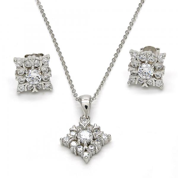 Sterling Silver 10.175.0016 Earring and Pendant Adult Set, with White Cubic Zirconia, Polished Finish, Rhodium Tone