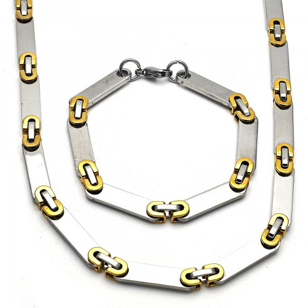 Stainless Steel 06.116.0015 Necklace and Bracelet, Polished Finish, Two Tone