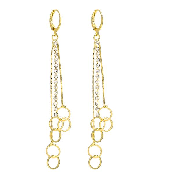 Gold Layered 02.150.0012 Long Earring, with White Crystal, Polished Finish, Golden Tone