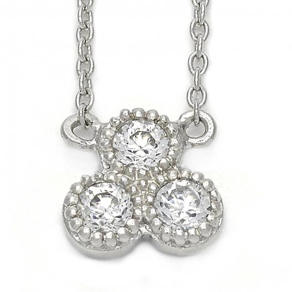 Sterling Silver 10.174.0181.18 Fancy Necklace, Flower Design, with White Cubic Zirconia, Rhodium Tone